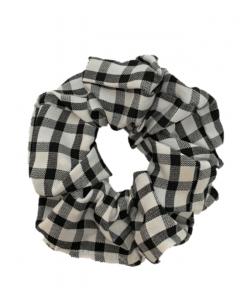 JA•NI Hair Accessories - Hair Scrunchies, The Black Wide Checkered