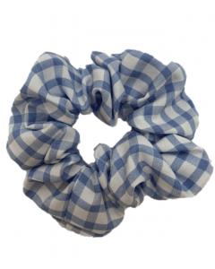 JA•NI Hair Accessories - Hair Scrunchies, The Blue Wide Checkered