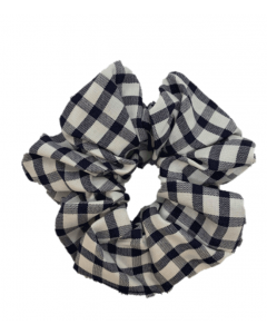 JA•NI Hair Accessories - Hair Scrunchies, The Navy Wide Checkered